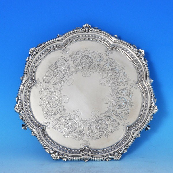j7863: Antique Sterling Silver Salver - Reid & Sons Hallmarked In 1903 London - Edwardian - image 1