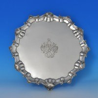 j8493: Antique Sterling Silver Salver - H. Lambert Hallmarked In 1876 London - Victorian - image 1