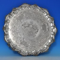 j8500: Antique Sterling Silver Salver - Barack Mewburn Hallmarked In 1828 London - George IV Georgian - image 1