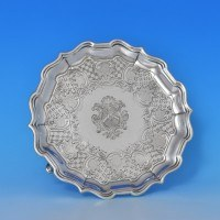 j8612: Antique Sterling Silver Salver - Paul De Lamerie Hallmarked In 1735 London - George II Georgian - image 1