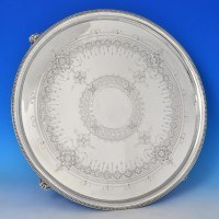 j9251: Antique Sterling Silver Salver - Marshall & Sons Hallmarked In 1878 Edinburgh - Victorian - image 1