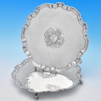 J9494: Antique Sterling Silver Salvers - William Darker Hallmarked In 1729 London - Georgian - Image 5