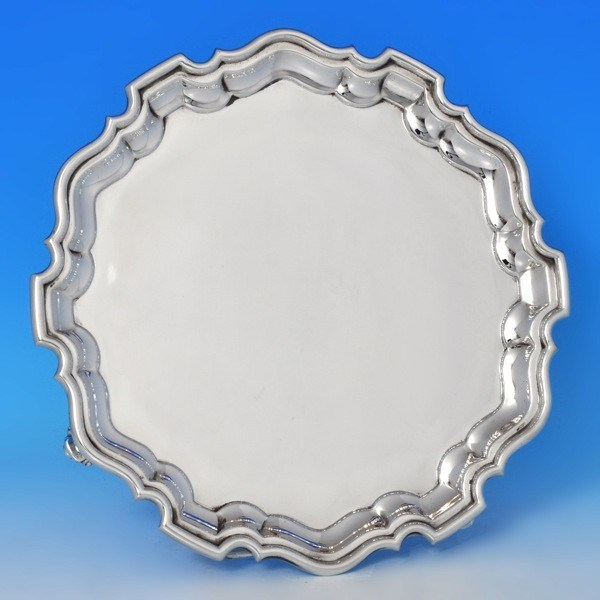 j9886: Sterling Silver Salver - Martin Hall & Co. Hallmarked In 1926 Sheffield - George V  - image 1