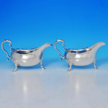 B0032: Antique Sterling Silver Pair Of Sauce Boats - Goldsmiths & Silversmiths Co. Hallmarked In 1909 London - Edwardian - Image