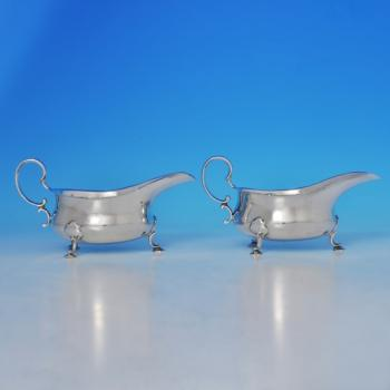B1018: Antique Sterling Silver Sauce Boats - Martin Hall & Co. Hallmarked In 1911 Sheffield - George V - Image 1