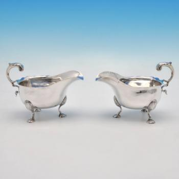 B4350: Antique Sterling Silver Pair Of Sauce Boats - William Cattell Hallmarked In 1774 London - Georgian - Image 1