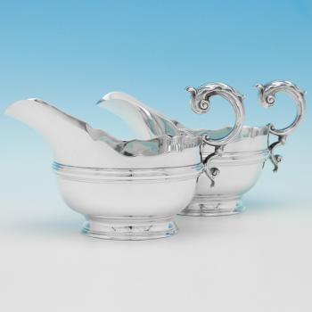 B9058:  Sterling Silver Pair Of Sauce Boats - Jays Hallmarked In 1938 Sheffield - George VI - Image 1