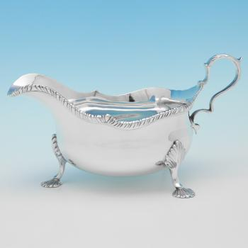B9180: Antique Sterling Silver Sauce Boat - T. Bradbury & Sons Hallmarked In 1915 London - George V - Image 1