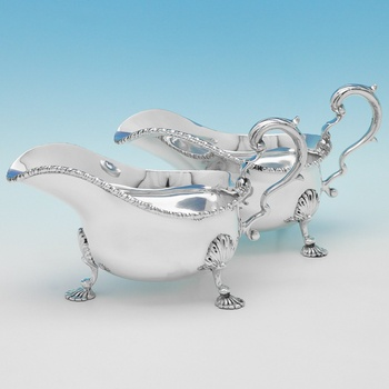 B9810:  Sterling Silver Pair Of Sauce Boats - Richard Woodman Burbridge Hallmarked In 1937 London - George VI - Image 1