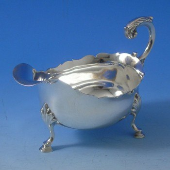 d7709: Antique Sterling Silver Sauce Boat - Hallmarked In 1781 London - George III Georgian - image 1