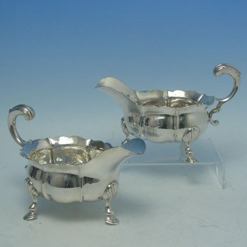 e8169: Antique Sterling Silver Sauce Boats - John Pollock Hallmarked In 1749 London - George II Georgian - image 1