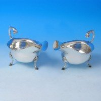j2697: Antique Sterling Silver Pair Of Sauce Boats - D. & J. Wellby Hallmarked In 1896 London - Victorian - image 1