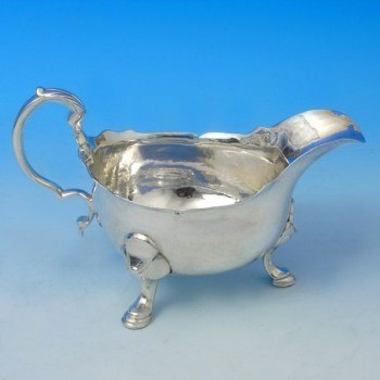 j2766: Antique Sterling Silver Sauce Boat - Hallmarked In 1750 London - George II Georgian - image 1
