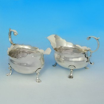 j3839: Antique Sterling Silver Pair Of Sauce Boats - David Mowden Hallmarked In 1751 London - George II Georgian - image 1
