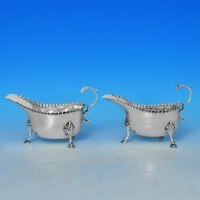 j7255: Antique Sterling Silver Pair Of Sauce Boats - Hallmarked In 1899 London - Victorian - image 1