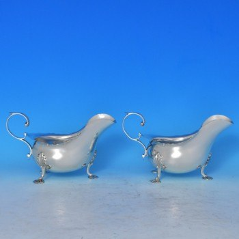 j7817: Antique Sterling Silver Pair Of Sauce Boats - Walker & Hall Hallmarked In 1899 Sheffield - Victorian - image 1