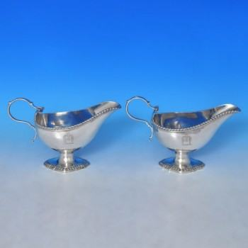 j9496: Antique Sterling Silver Pair Of Sauce Boats - John Cafe Hallmarked In 1772 London - George III Georgian - image 1