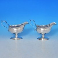 j9940: Antique Sterling Silver Pair Of Sauce Boats - Hester Bateman Hallmarked In 1784 London - George III Georgian - image 1