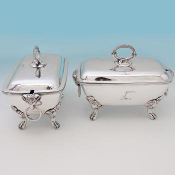 B6313: Antique Sterling Silver Pair Of Sauce Tureens - John Emes Hallmarked In 1801 London - Georgian - Image 1