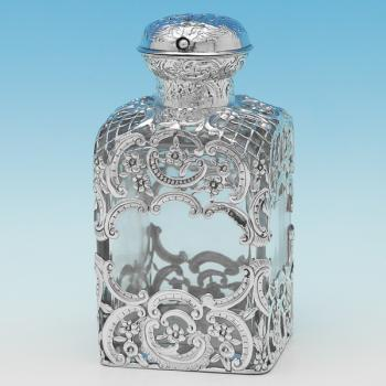 B9517: Antique Sterling Silver Scent Bottle - William Comyns Hallmarked In 1891 London - Victorian - Image 1