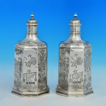 j6679: Sterling Silver Pair Of Scent Bottles - D. & J. Wellby Hallmarked In 1915 London - George V  - image 1