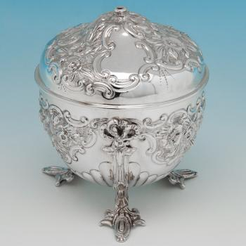 B6273: Antique Sterling Silver String Boxes - Goldsmiths & Silversmiths Co. Hallmarked In 1901 London - Victorian - Image 1