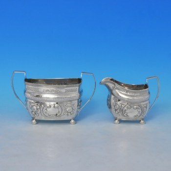 j9178: Antique Sterling Silver Sugar And Cream Set - Hallmarked In 1804 London - George III Georgian - image 1