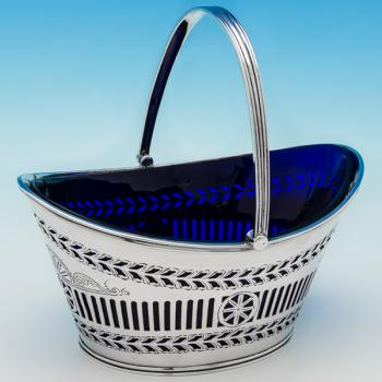 B6322: Antique Sterling Silver Sugar Basket - Henry Atkins Hallmarked In 1901 Sheffield - Victorian - Image 1