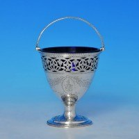 j9142: Antique Sterling Silver Sugar Basket - Hester Bateman Hallmarked In 1785 London - George III Georgian - image 1