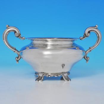B1101: Antique Sterling Silver Sugar Bowl - James Barber & William North Hallmarked In 1840 York - Victorian - Image 1