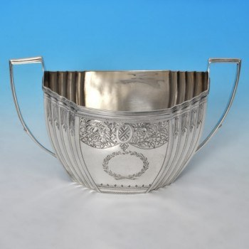 j9897: Antique Sterling Silver Sugar Bowl - Godbehere, Wigan, And Bult Hallmarked In 1803 London - George III Georgian - image 1