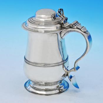 B2424: Antique Sterling Silver Tankard - John Kentenber Hallmarked In 1773 London - Georgian - Image 1