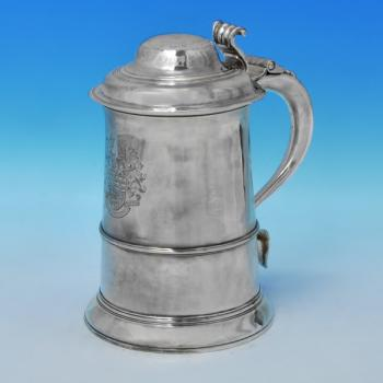B2801: Antique Sterling Silver Tankards - John King Hallmarked In 1774 London - Georgian - Image 1