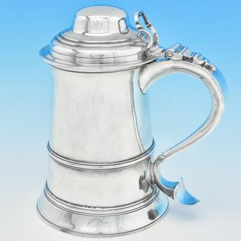 B7713: Antique Sterling Silver Tankards - John Moore Hallmarked In 1767 London - Georgian - Image 1