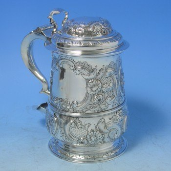 d5495: Antique Sterling Silver Tankard - Hallmarked In 1756 Newcastle - George II Georgian - image 1