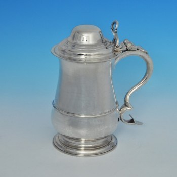 j6340: Antique Sterling Silver Tankard - William Cox III Hallmarked In 1781 London - George III Georgian - image 1