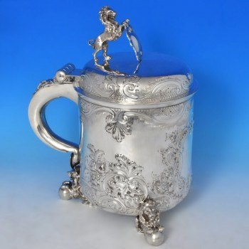j9252: Antique Sterling Silver Tankard - Elkington & Co. Hallmarked In 1900 London - Victorian - image 1