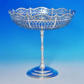 B1191: Antique Sterling Silver Tazza - Mappin & Webb Hallmarked In 1911 Sheffield - George V - Image 1