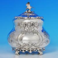 B0900: Antique Sterling Silver Tea Caddy - Goldsmiths & Silversmiths Co. Hallmarked In 1901 London - Victorian - Image 1
