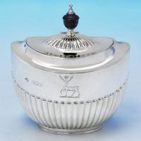 B1705: Antique Sterling Silver Tea Caddy - William Hutton Hallmarked In 1897 London - Victorian - Image 1