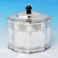 B1812:  Sterling Silver Tea Caddy - L. A. Crighton Hallmarked In 1918 London - George V - Image 1