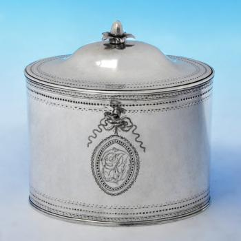B2228: Antique Sterling Silver Tea Caddy - Robert Hennell II Hallmarked In 1789 London - Georgian - Image 1