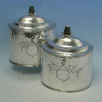 e9469: Antique Sterling Silver Pair Of Tea Caddies - Peter & Anne Bateman Hallmarked In 1796 London - George III Georgian - imag