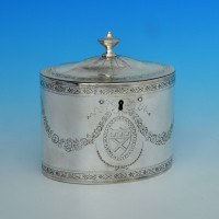 j5982: Antique Sterling Silver Tea Caddy - Hester Bateman Hallmarked In 1784 London - George III Georgian - image 1