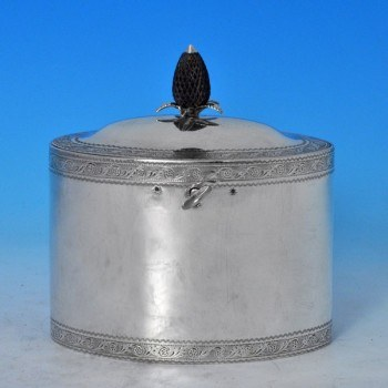 j7767: Antique Sterling Silver Tea Caddy - Hester Bateman Hallmarked In 1795 London - George III Georgian - image 1