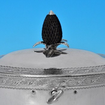 j7767: Antique Sterling Silver Tea Caddy - Hester Bateman Hallmarked In 1795 London - George III Georgian - image 2