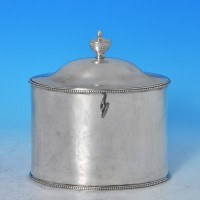 j7874: Antique Sterling Silver Tea Caddy - Hester Bateman Hallmarked In 1785 London - George III Georgian - image 1