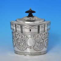 j9176: Antique Sterling Silver Tea Caddy - John Emes Hallmarked In 1798 London - George III Georgian - image 1