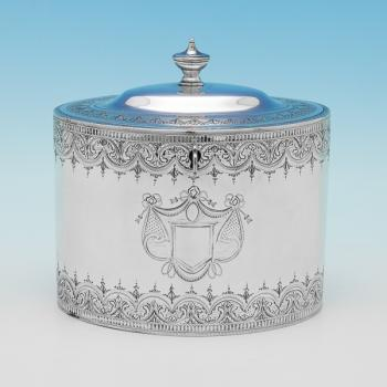 L0302: Antique Sterling Silver Tea Caddy - Henry Green Hallmarked In 1792 London - Georgian - Image 1