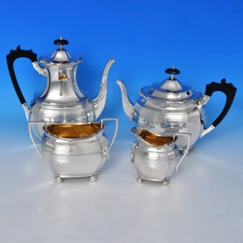 b0075: Antique Sterling Silver Four Piece Tea Set - Elkington & Co. Hallmarked In 1897 Birmingham - Victorian - image 1
